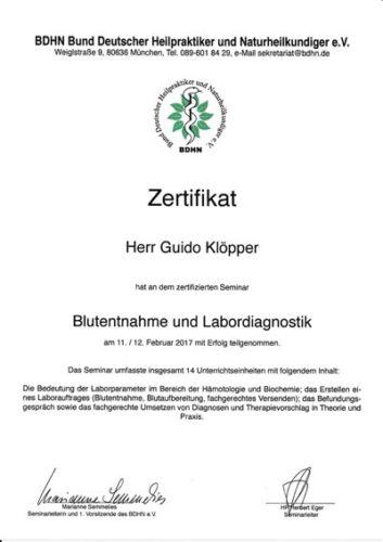Zertifikat: Blutentnahme und Labordiagnostik