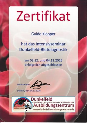 Zertifikat: Dunkelfeld-Blutdiagnostik