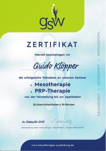 Zertifikat: Meso- und PRP-Therapie