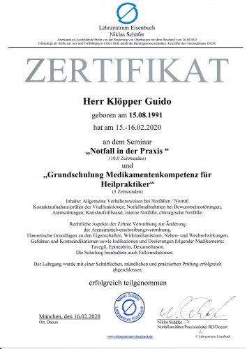 Zertifikat Notfallkurs München