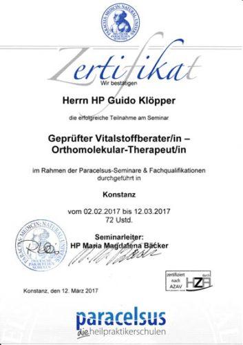 Zertifikat: Vitalstoffberater, Orthomolekularer Therapeut