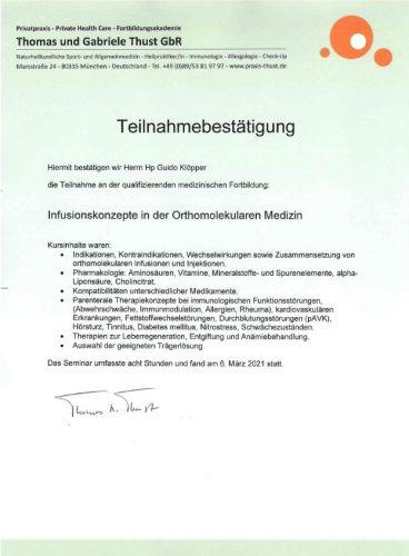 Zertifikat Guido Klöpper Infusionskonzepte
