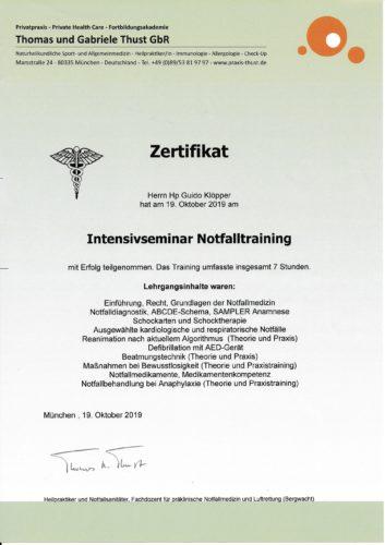 Zertifikat Notfallseminar